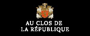 Logo blanc du Clos de la République Domaine de Patrick Fonjallaz